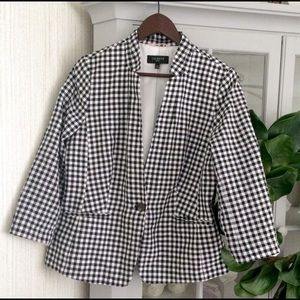 Talbots Black & White Checkered Blazer